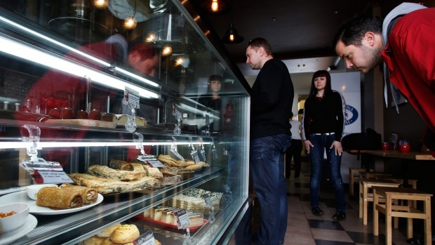 Tempted: The baked offerings draw a crowd at Izba Russian Treats in Newtown.