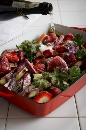 Decadent dessert: Roasted strawberries and rhubarb scented with rose geranium.