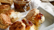 Delightful: saffron scones with labna and orange blossom marmalade.
