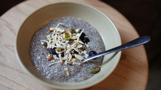 FIBRE-PACKED PUDDING: Chia seeds swell in liquid to form a gel-like substance.