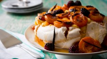 There's no shame in a store-bought pavlova shell. Simply dress it up with fresh fruit, curd and/or cream.