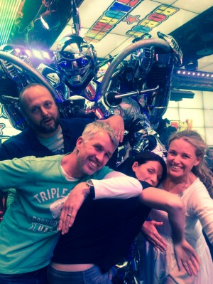 Big in Japan: Kate Cox (far right) enjoys a night out at the Robot Restaurant in Tokyo.