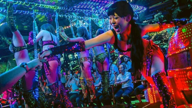 A show a The Robot Restaurant in Tokyo, Japan.