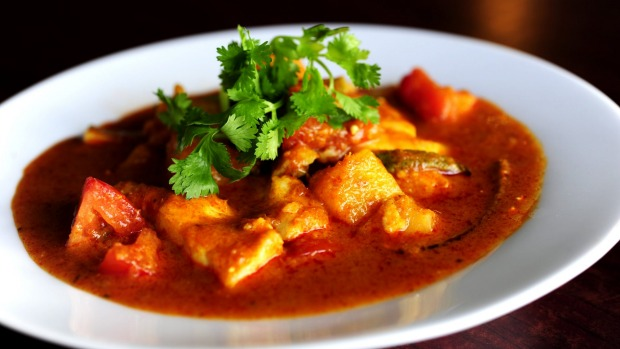 "Asam Curry: Fresh ling fillet or prawns or soy based ""fish"" in a spicy tangy tamarind sauce with tomato,  pineapple and okra."