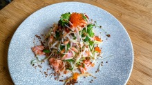 The cold smoked ocean trout salad.