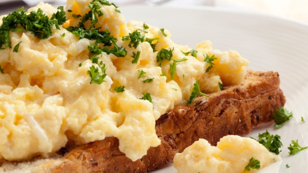 Right first dine: Scrambled eggs on toasted wholegrain bread.