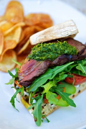 The one dish you must try ... steak sandwich with goat's curd, fresh cucumber, roast tomato and salsa verde with ...