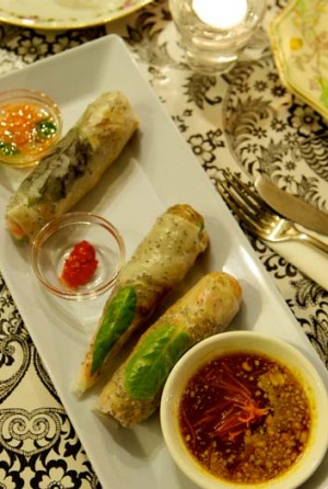 The one dish you must try ... the Three Sisters trio of fresh rice paper rolls, each with its own dipping sauce.