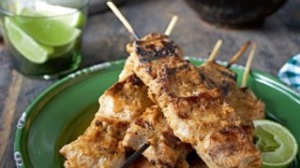 Red curry pork skewers