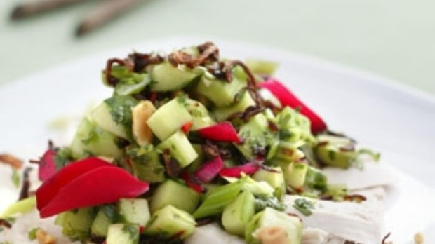 Thai rose-petal and cucumber salad