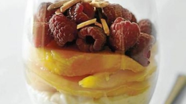 Mangoes and raspberries with vanilla rice