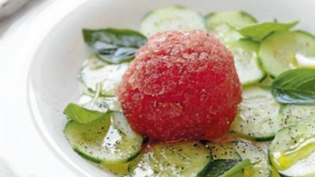 Gazpacho sorbet with cucumber and basil