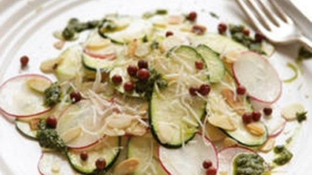 Vegetable carpaccio with salsa verde and almonds