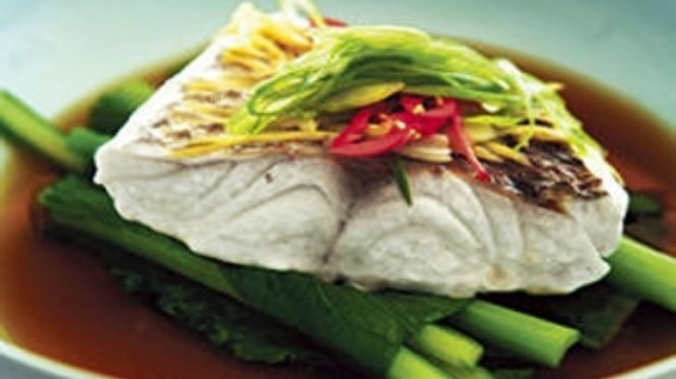 Steamed snapper, ginger and soy broth