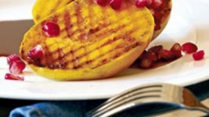 Barbecued mango cheeks with pomegranates