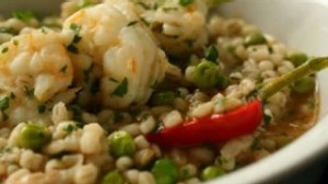 Prawn and barley stew