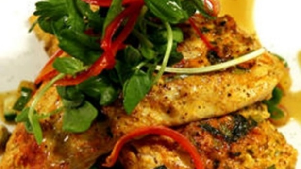 Spice-dusted barramundi with Moroccan herb salad