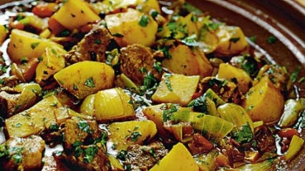 Veal and potato tagine