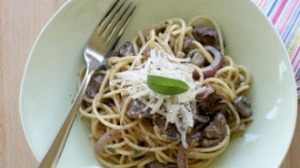Spaghetti with panfried chicken livers