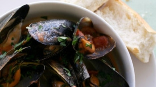 Mussels poached in white wine