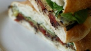 Eggplant, spinach and tomato panini