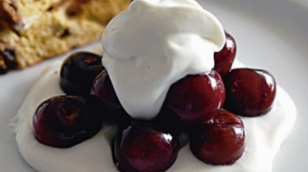 Poached cherries with toasted panettone and mascarpone cream