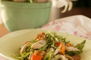 Warm chicken, walnut and tarragon salad
