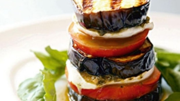 Grilled eggplant, mozzarella and tomato