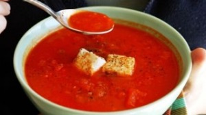 Hot red pepper soup with fried feta