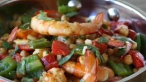 Pan-fried prawns with chickpeas and chermoula