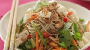 Japanese buckwheat noodle salad with tofu and soy-chilli dressing
