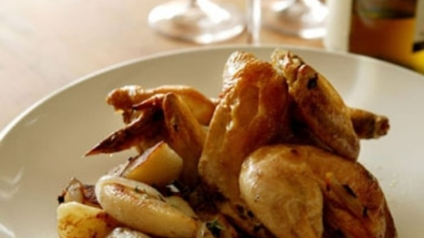 Roast chicken and chips