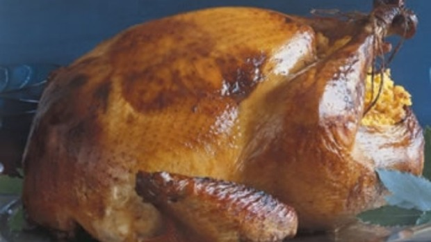 Brined and roasted Turkey with cornbread stuffing