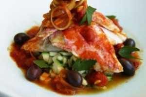 Steamed red mullet with Mediterranean vegetables