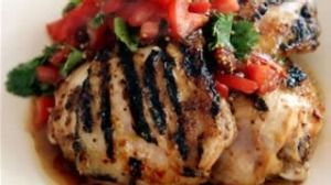 Barbecued chicken with fresh tomato relish