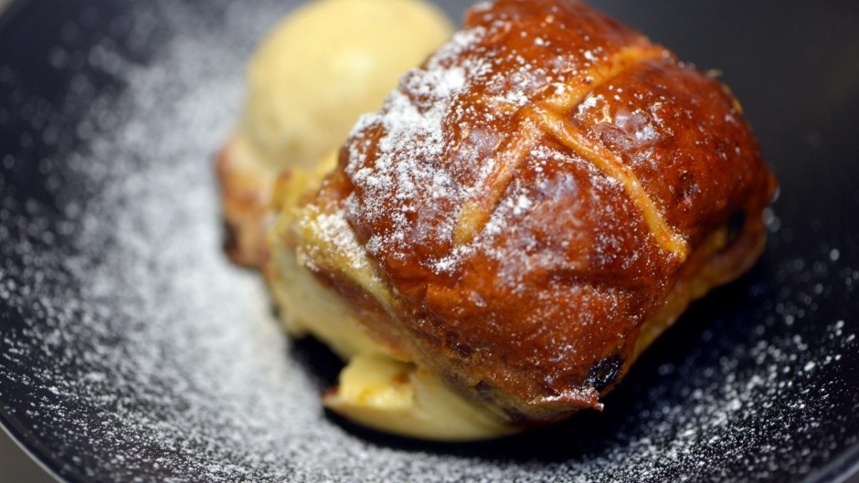 Hot cross bun, bread and butter pudding for Easter (or post-Easter).