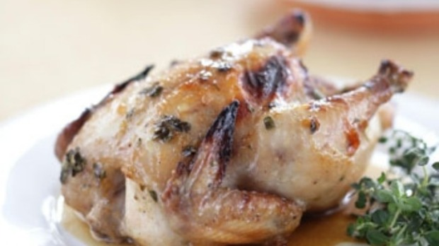 Honey-glazed roasted poussin