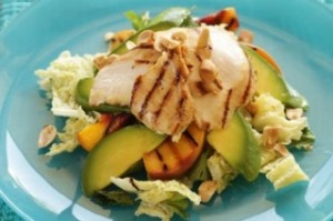 Grilled chicken, peaches and avocado