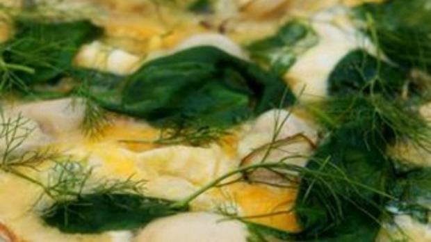 Oyster and spinach frittata