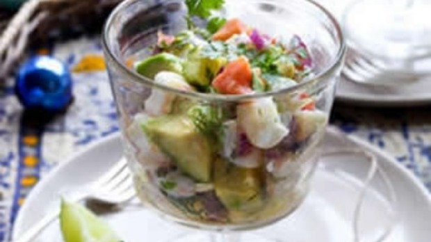 Prawn, scallop and ocean trout ceviche