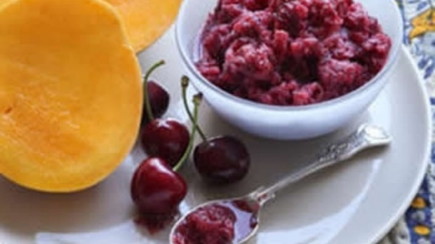 Mango cheeks with cherry granita