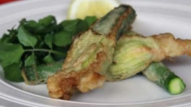 Zucchini flowers with three-cheese stuffing