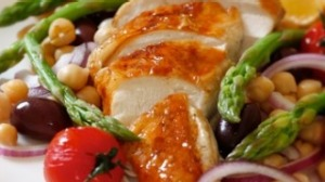 Roast chicken with asparagus and chickpea salad