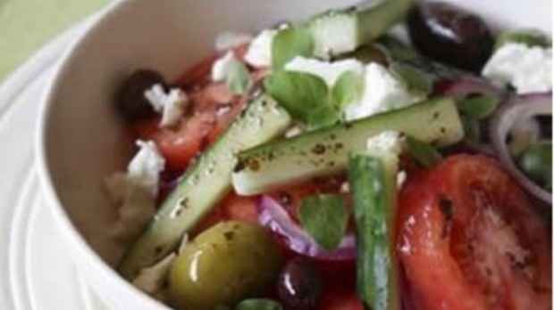 Cucumber, tomato and mixed olive salad