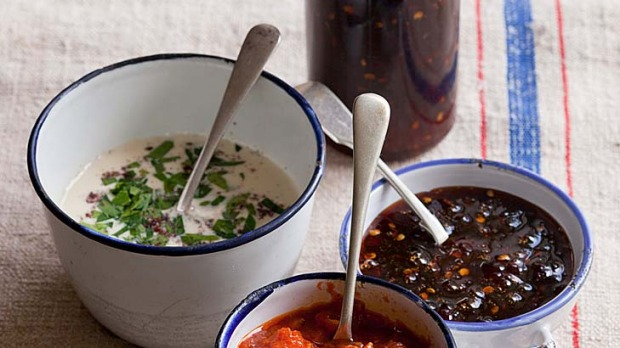 Bill Granger's spicy sweet chilli sauce, tahini and chilli relish.