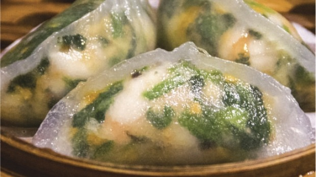 Spinach dumplings with shrimp from Tim Ho Wan, Chatswood, Hong Kong's Michelin starred restaurant just opened in Sydney.