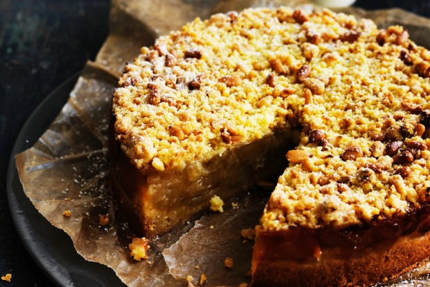 "Apple crumble cake. <a href=""http://www.goodfood.com.au/recipes/apple-and-orange-crumble-tart-20140602-39f6g""><b>(Recipe ..."