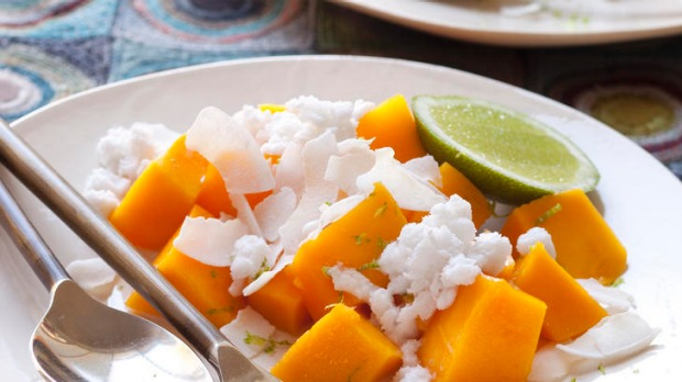 Mango with coconut milk granita.