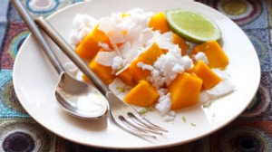Mango with coconut milk granita. Jill Dupleix FAST FOOD FOR FRIENDS DINNER PARTY for Epicure and Good Living. ...