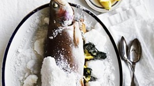 Whole salt-baked ocean trout